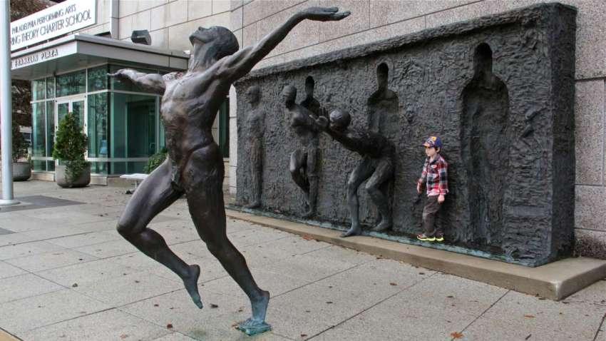 freedom statue art zeno frudakis sculpture philadelphia performing arts vine street charter school
