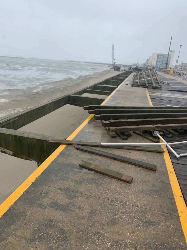 A look at damage done to the Wildwood Boardwalk during Monday's windy weather.