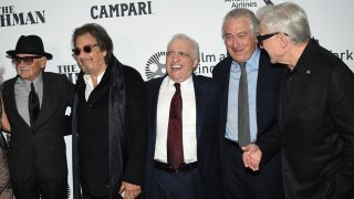 "Actors Joe Pesci, from left, Al Pacino, director/producer Martin Scorsese, actor/producer Robert De Niro and Harvey Keitel attend the world premiere of ""The Irishman"" at Alice Tully Hall during the opening night of the 57th New York Film Festival on Friday, Sept. 27, 2019, in New York."