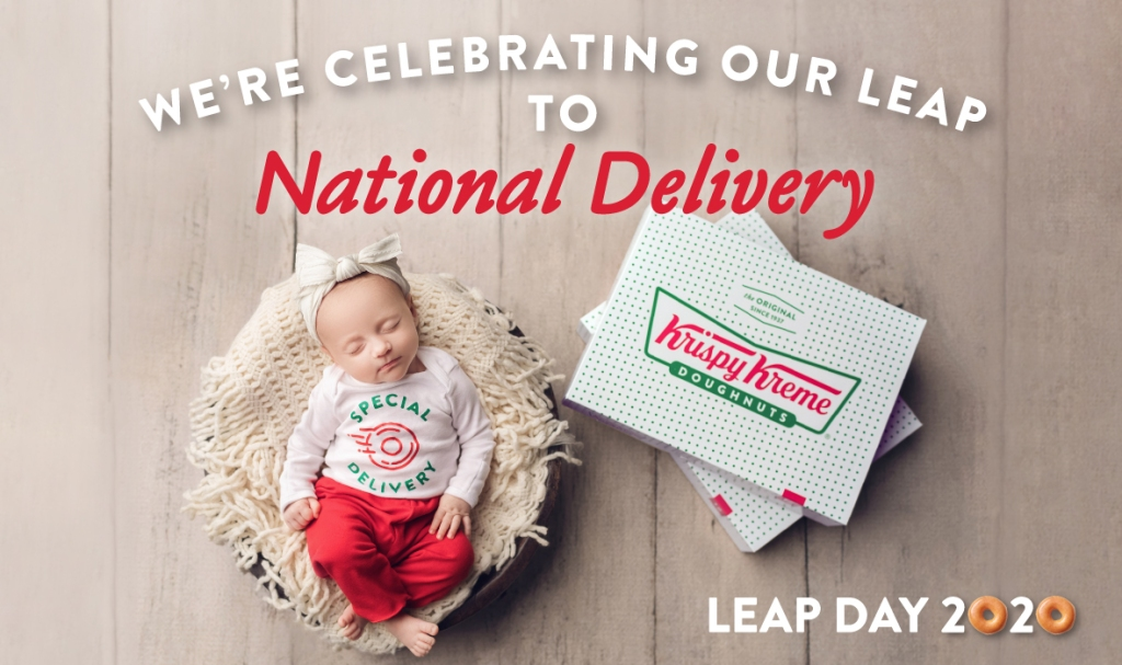 Advertisement for Krispy Kreme's Leap to National Deliver. It features a baby and a Krispy Kreme Box.