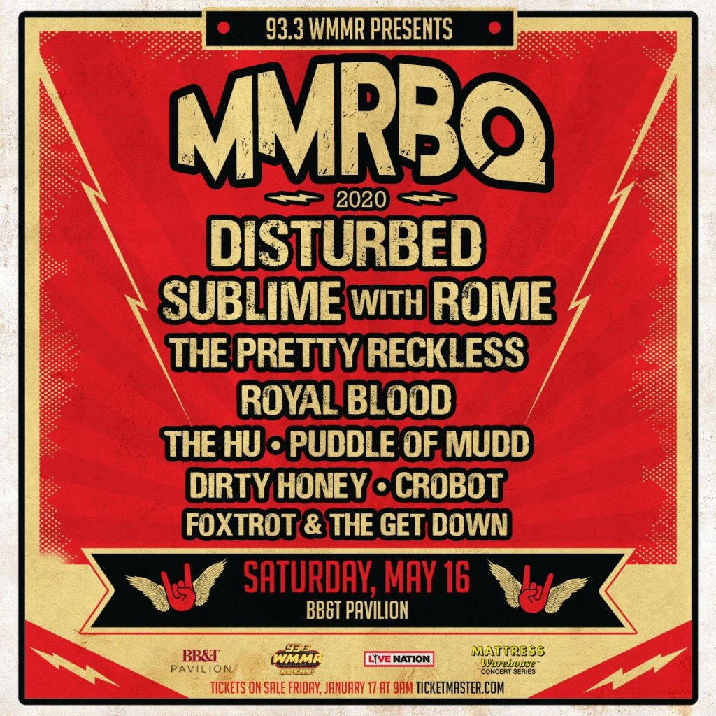 A flyer for the MMRBQ concert listing Disturbed, Sublime with Rome, The Pretty Reckless, Royal Blood Puddle of Mudd, Crobot, Dirty Honey, The Hu, and Foxtrot and the Get Down