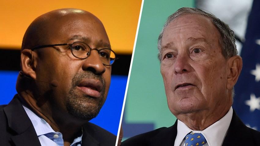 Former Mayor of Philadelphia Michael Nutter, left; former Mayor of New York City Michael Bloomberg, right.