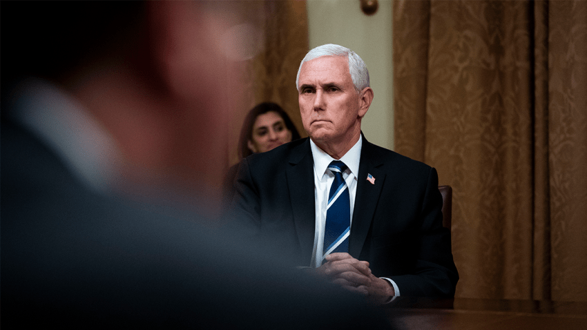 U.S. Vice President Mike Pence listens as U.S. President Donald Trump meets with industry executives in the Cabinet Room of the White House April 27, 2020 in Washington, DC. Trump met with the executives to discuss ongoing responses to the COVID-19 pandemic.