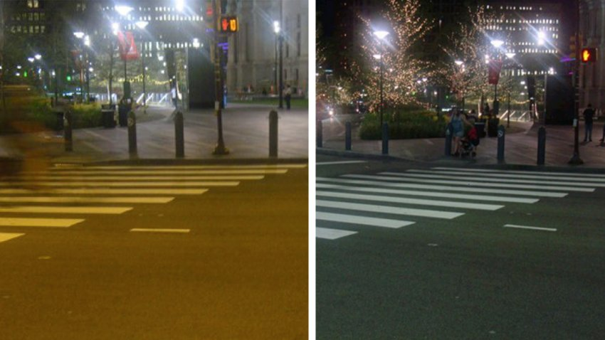 Left: An area outside Philadelphia City Hall lit up by incandescent streetlights. Right: An area outside Philadelphia City Hall lit up by LED streetlights.