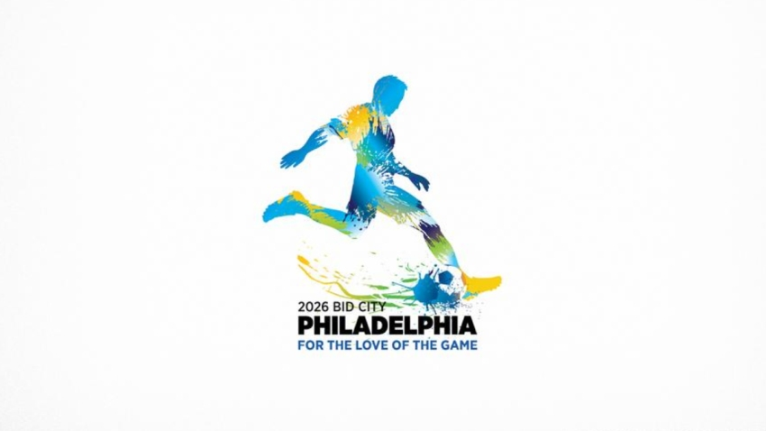 A blue watercolor-style logo depicting a person kicking a soccer ball.