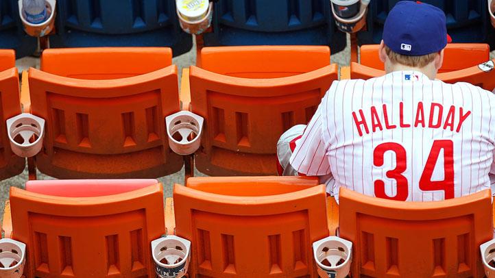 Phillies fan roy halladay shirt empty bleachers