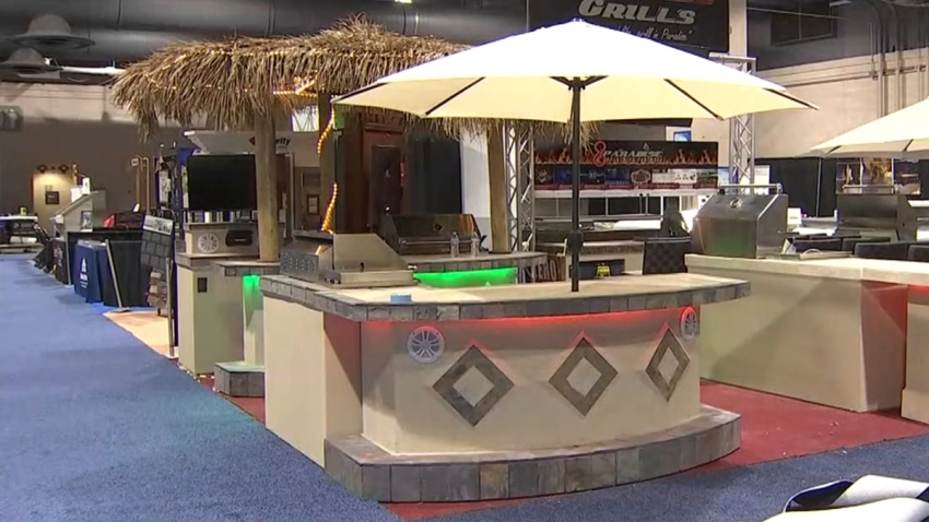 Tiki huts at the Philly Home Show.