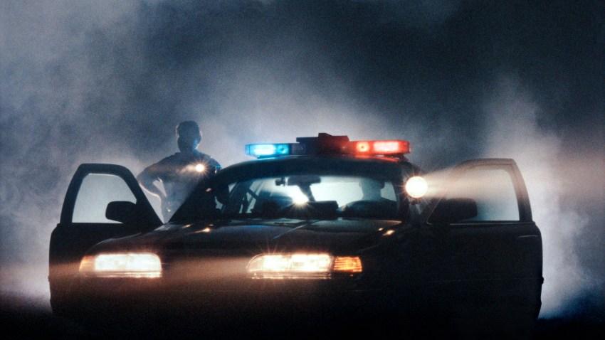 police car night lights on