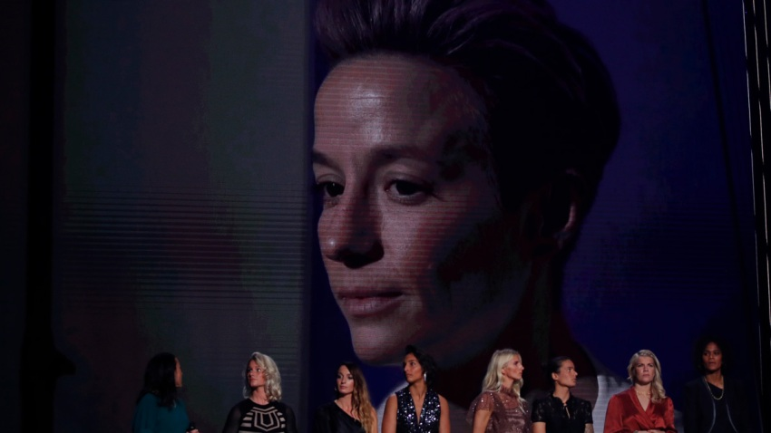 Megan Rapinoe is seen on the screen after she is named the best female soccer player at the Grand Palais in Paris, Monday, Dec. 2, 2019.