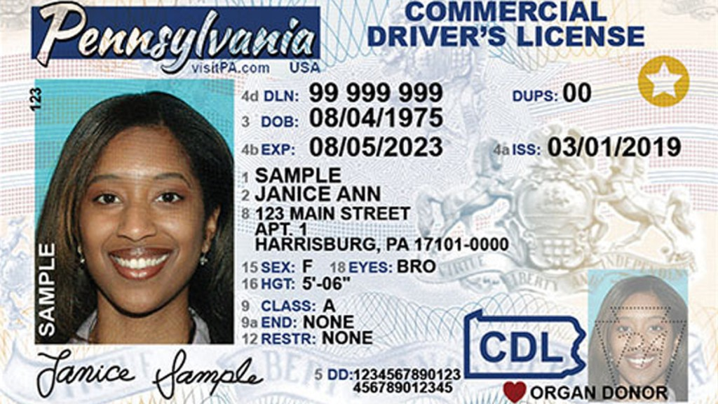 A REAL ID driver's license sample for Pennsylvania.