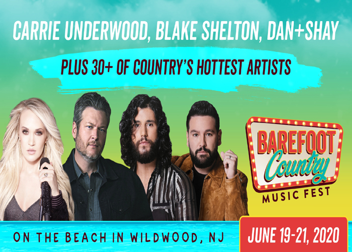 A flyer for the Barefoot Country Music Fest with Carrie Underwood, Blake Shelton, and Dan and Shay side by side.