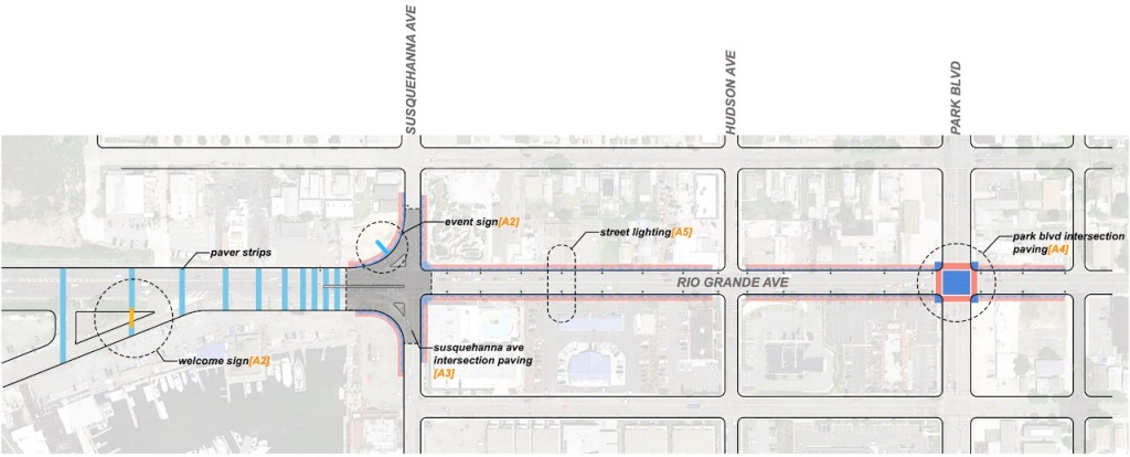 A site map of Rio Grand Avenue construction plans