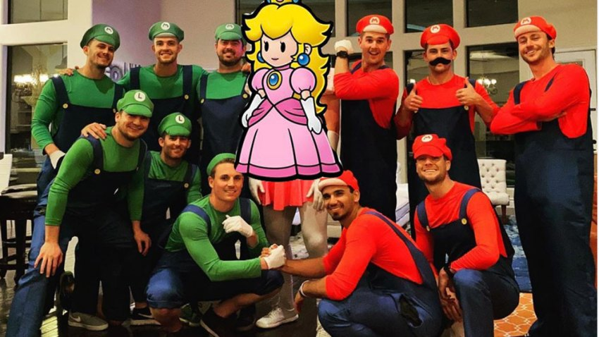 [CSNPhily] Rhys Hoskins dressed as Princess Peach at his bachelor party is a LOOK