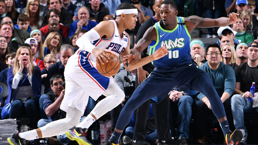 Tobias Harris #12 of the Philadelphia 76ers handles the ball during the game against the Dallas Mavericks on January 11, 2020 at the American Airlines Center in Dallas, Texas.