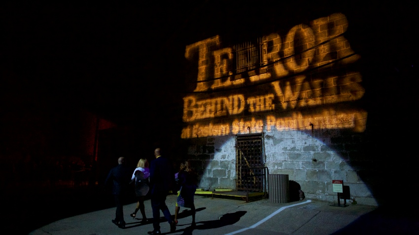 """Visitors arrive at """"Terror Behind the Walls"""" haunted house on October 24, 2017 in Philadelphia, Pennsylvania."""