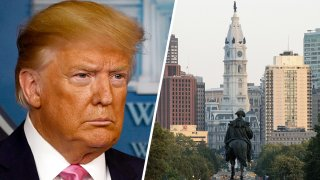 Left: President Donald Trump. Right: Philadelphia City Hall