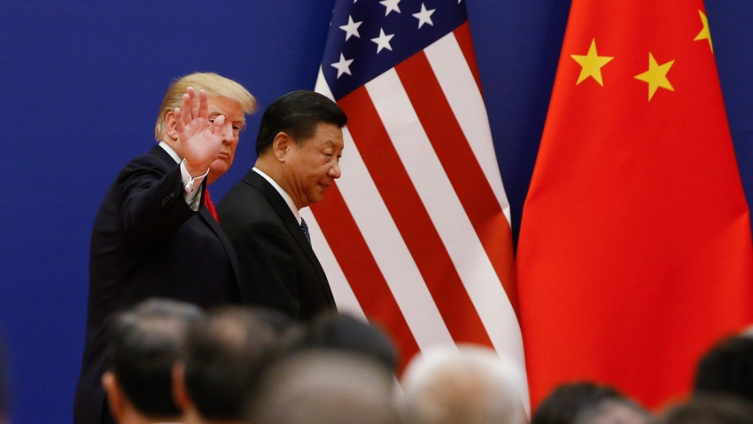 President Donald Trump and China's President Xi Jinping meet business leaders at the Great Hall of the People on Nov. 9, 2017, in Beijing, China.