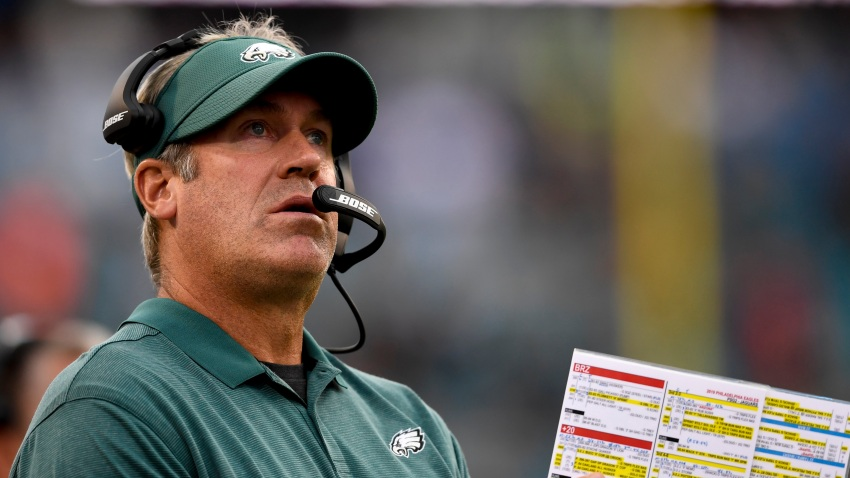Aug 15, 2019; Jacksonville, FL, USA; Philadelphia Eagles head coach Doug Pederson looks on during the first quarter against the Jacksonville Jaguars at TIAA Bank Field.