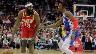 Houston Rockets guard James Harden (13) handles the ball against Philadelphia 76ers guard Josh Richardson (0)