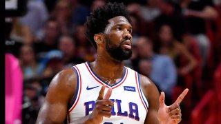 Philadelphia 76ers center Joel Embiid (21) reacts against the Miami Heat