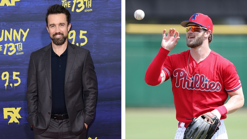 [CSNPhily] Bryce Harper and Mac from It's Always Sunny in Philadelphia (Rob McElhenney) strike up friendship