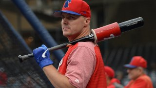 Philadelphia Phillies left fielder Jay Bruce (23) looks on before the game against the San Diego Padres