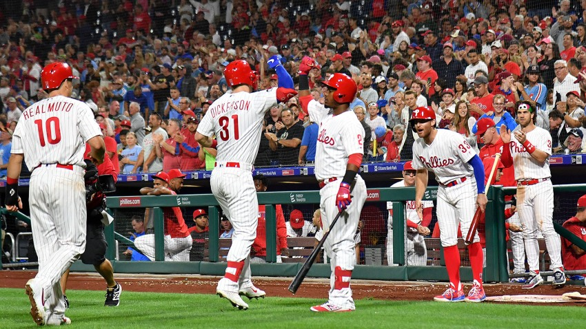 Philadelphia Phillies left fielder Corey Dickerson (31) celebrates his two run home run during the eighth inning with shortstop Jean Segura (2) against the Pittsburgh Pirates at Citizens Bank Park.