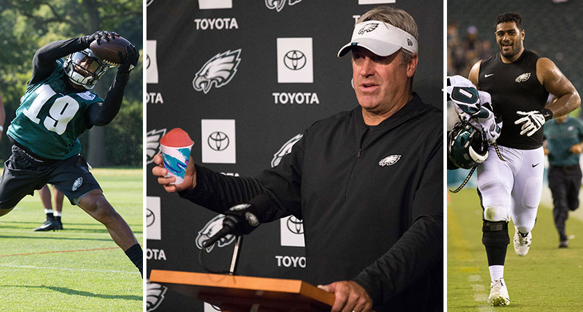 [CSNPhily] Doug Pederson's favorite water ice? Jordan Mailata at FB? and other very important Eagles training camp questions