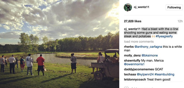 [CSNPhily] Carson Wentz took his offensive linemen hunting (and eating)