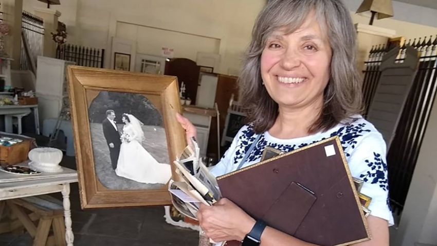 woman reunited with family pictures