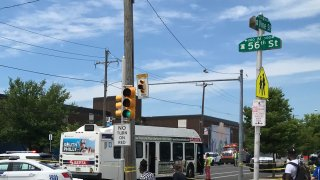 SEPTA bus stopped after crash