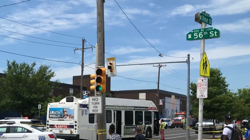 SEPTA bus stopped after crash
