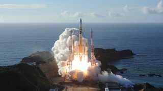 In this photo released by MHI, an H-IIA rocket with United Arab Emirates' Mars orbiter Hope lifts off from Tanegashima Space Center in Kagoshima, southern Japan Monday, July 20, 2020. A United Arab Emirates spacecraft rocketed away Monday on a seven-month journey to Mars, kicking off the Arab world's first interplanetary mission.