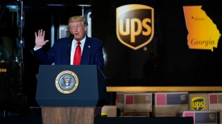 President Donald speaks during an event on American infrastructure at UPS Hapeville Airport Hub, Wednesday, July 15, 2020, in Atlanta.