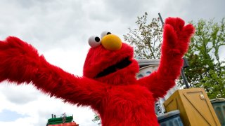 Crowd favorite, Elmo, greets visitors along the parade route at Sesame Place back in 2011.