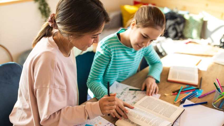 Female teacher helping a teenage girl with private tutoring