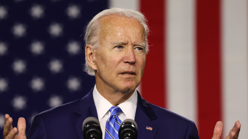 Democratic presidential candidate former Vice President Joe Biden speaks at the Chase Center July 14, 2020 in Wilmington, Delaware. Biden delivered remarks on his campaign's 'Build Back Better' clean energy economic plan.