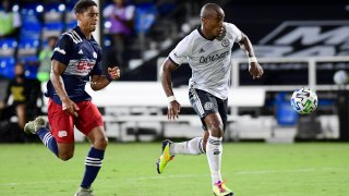 Sergio Santos #17 of Philadelphia Union runs the ball to score in the second half of their game against New England Revolution during the knockout round of the MLS is Back Tournament