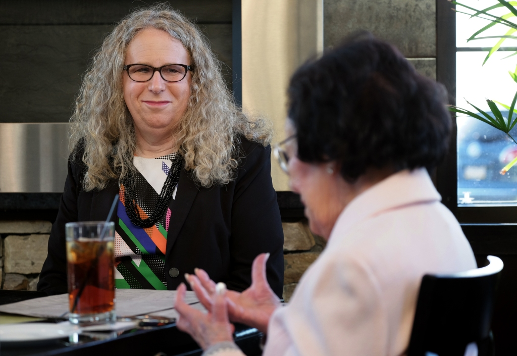 Rachel Levine, MD, physician general for the state of Pennsylvania, dines with her mother Lillian Levine, in Harrisburg, PA, on May 16, 2016.