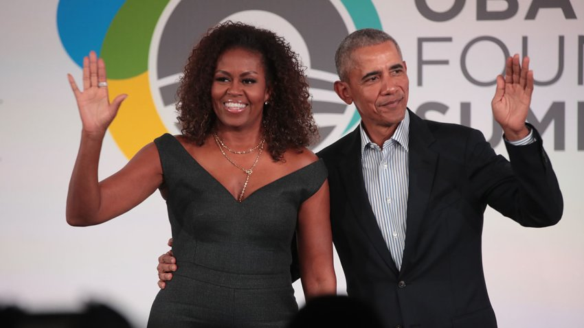 Former U.S. President Barack Obama and former first lady Michelle Obama close the Obama Foundation Summit at the Illinois Institute of Technology, Oct. 29, 2019, in Chicago.