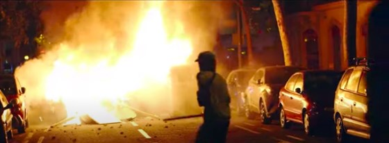 A screengrab of the video aired during the RNC segment actually shows 2019 protests in Barcelona.