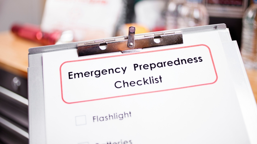 stock image of a list that reads emergency preparedness