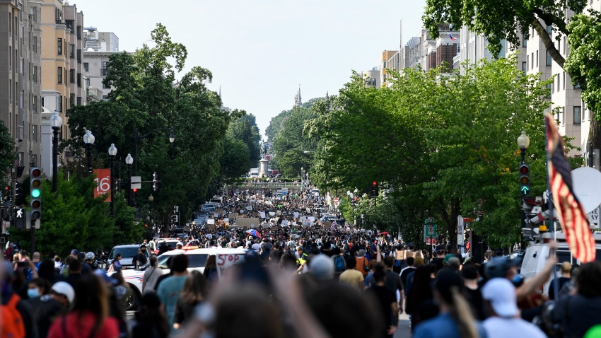 UNITED STATES - JUNE 2: Demonstrators gather to protest the death of George Floyd near the White House in Washington on Tuesday, June 2, 2020.