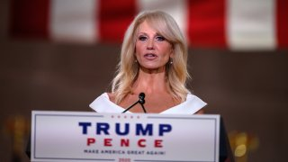 Outgoing Counselor to US President Donald Trump, Kellyanne Conway, addresses the Republican National Convention in a pre-recorded speech at the Andrew W. Mellon Auditorium in Washington, DC, on August 26, 2020.