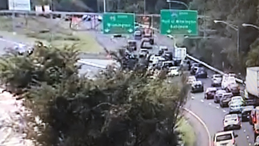Cars are backed up on a portion of Interstate 95 in Delaware.