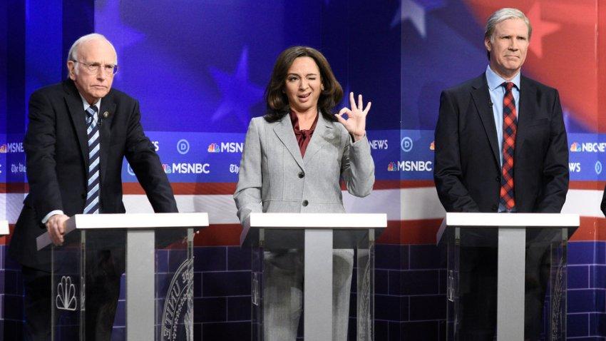 Larry David as Bernie Sanders, Maya Rudolph as Kamala Harris and host Will Ferrell as Tom Steyer