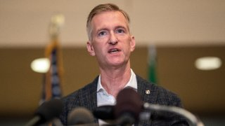 In this Aug. 30, 2020, file photo, Portland Mayor Ted Wheeler speaks to the media at City Hall in Portland, Oregon.