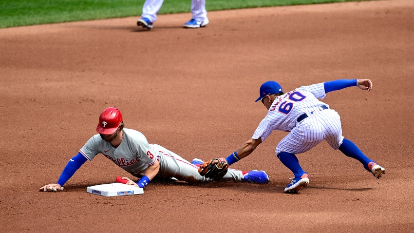 Bryce Harper slides onto base