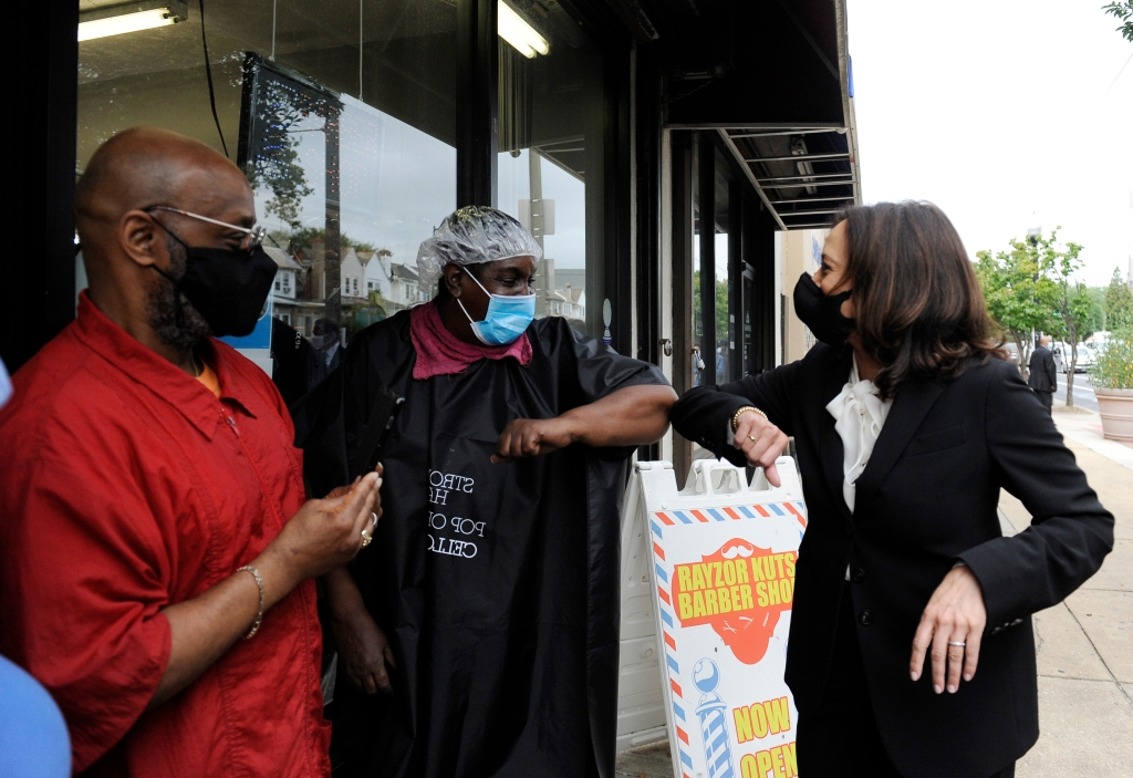 Democratic vice presidential candidate Sen. Kamala Harris, D-Calif., meets people during a campaign stop, Thursday, Sept. 17, 2020, in Philadelphia.