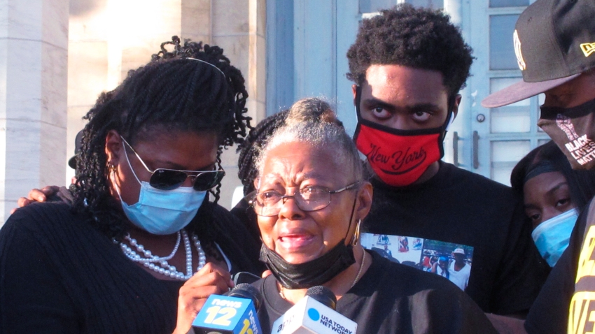 Carol Sanders speaks on the fatal shooting of her son, Hasani Best, in Asbury Park N.J., Sept. 23, 2020. Family and friends of Hasani Best rallied and called on New Jersey authorities to bring criminal charges against one or more police officers involved in his fatal shooting last month.